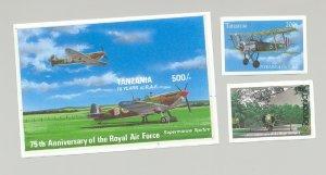 Tanzania #1084-1086 Royal Air Force, Aviation 2v & 1v S/S Imperf Proofs
