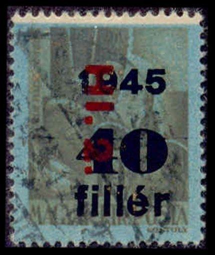 Hungary 1946  Hi.2 Inflation Ovpt with Freak White Margin at Top (Scott # 805)