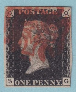 GREAT BRITAIN 1 PENNY BLACK USED - THREE MARGINS - NO FAULTS VERY FINE!
