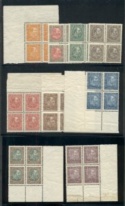 ICELAND #34-44B (63-75), Chr. IX Blocks of 4, og, NH, Complete Set, Facit $3,700
