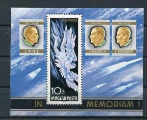 Hungary 1968 Sheet Mi  Block 63A MNH  Space In Memory Of Astronauts:White  Ko...