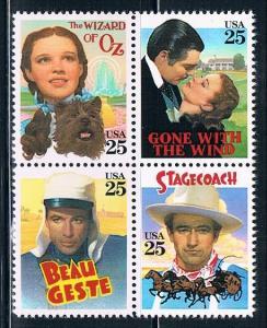 USA 2445-2448, 25c Classic films, setenant block of 4, MN...