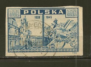Poland 375 Warsaw Castle Imperforated Used