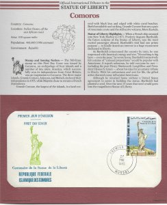 Statue of Liberty Comoros  #608. 1986 FDC with write up.