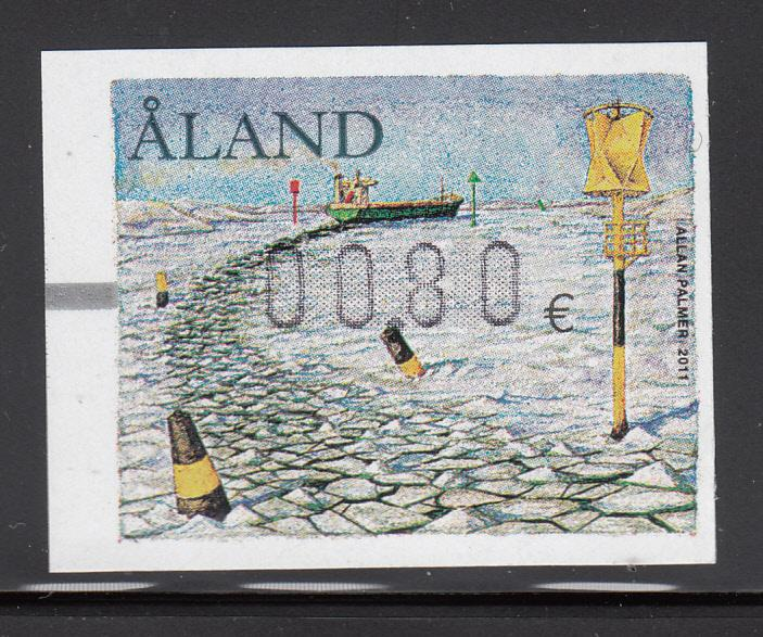 Aland 2011 MNH Postal label 80c Ship going through ice pack