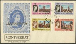 MONTSERRAT FDC Sc#385-88, 388a 1978 QEII Coronation 25th Anniv. Set & SS Cach UA
