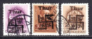 HUNGARY WW2 THUR OVERPRINTS CDS F/VF TO VF SOUND x3 DIFFERENT #2 $$$$$$$