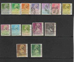 HONG KONG #490-504  1987  QEII    USED F-VF