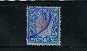 EAST AFRICA UGANDA SCOTT #56 1912-18 GEORGE V  20 RUPEES - WMK 3- REVENUE CANCEL