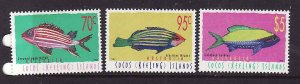 Cocos (Keeling) Is.-Sc#327-9-unused NH set-Fish-Marine Life-1998-