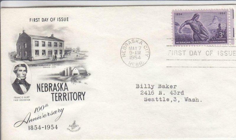 1954, 100th Anniv. Nebraska Territory, Artcraft, FDC (D14753)