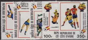 IVORY COAST CTO Scott # 600-604 Soccer Football (5 Stamps)