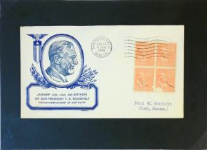 United States 1940 FDR Birthday Cover / Blue Cache (Stamps Light Damage) - Z3064
