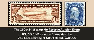 The 190th HipStamp No Reserve Auction Event