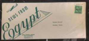 1930s Washington DC USA Cover To Bonham TX News From Egypt Royal Legation Cachet