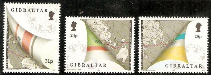 Gibraltar 1992 # 614-617 Yacht Rally set and S/Sheet MNH