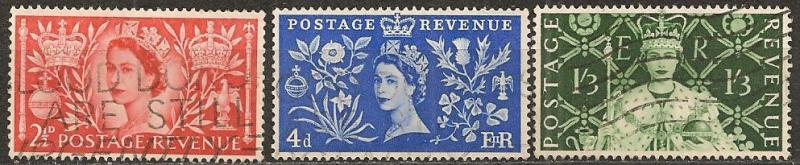 Great Britain #313-5 F-VF Used CV $4.50 (A13211)