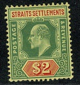S. SETTLEMENTS KE VII 1906-12 2$ GREEN & RED/YELL UNUSED SG166 Wmk.MCCA P.14 VGC