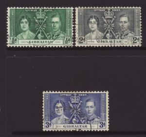 1937 Gibraltar Coronation Set Fine USed SG118/120