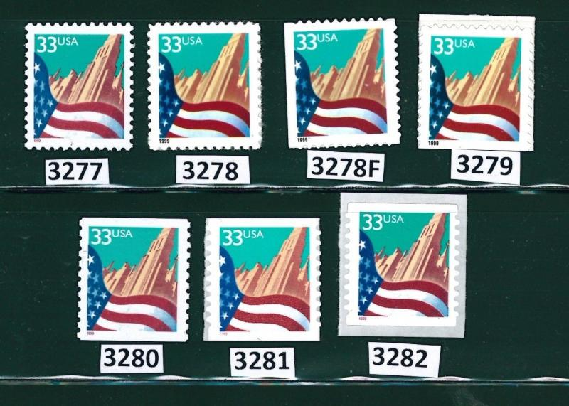 US Scott # 3277, 3278, 3278f, 3279 through 3282 / Flag Over City Set of 7