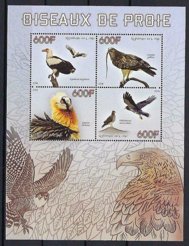 Congo MNH S/S Falcons Birds Of Prey 2014