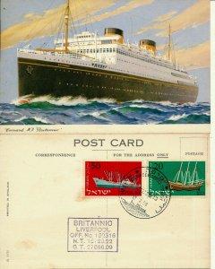 ISRAEL 1958 PASSENGER SHIP BRITANNIO POST CARD - SEE FRONT & BACK