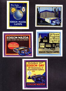 US 1932 Edison Golden Jubilee Poster Stamps Lot of 5