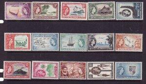 Solomon Is.Sc#89-105 ex 98,100-Unused NH QEII definitive set-Maps-Ships-1956-60