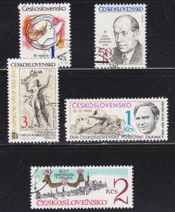 Czechoslovakia Scott 2539-41, 2545-46 F to VF CTO.