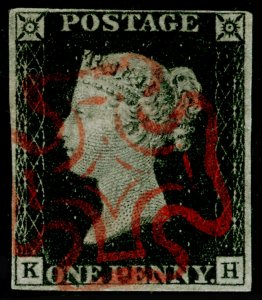 SG2, 1d black PLATE 6, FINE USED. Cat £400. RED MX. KH