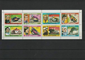 Republic of Equatorial Guinea Famous Motorbikers Used Stamps Sheet Ref 25097