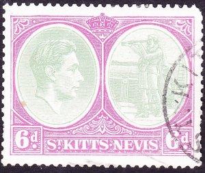 ST KITTS-NEVIS 1948 KGVI 6d Green & Purple SG74d FU