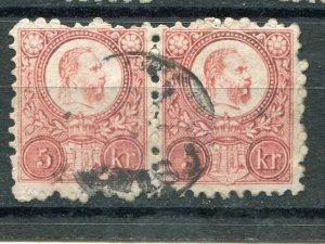 Hungary 1871 engraves used 5k pair  - Lakeshore Philatelics
