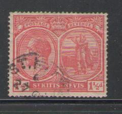 St Kitts-Nevis Sc 40 1925 1 1/2d red G V & spring stamp used
