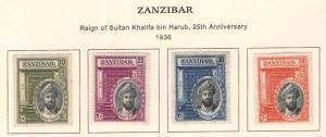 Zanzibar Scott 214-217 MH* 1936 set, yellowed gum