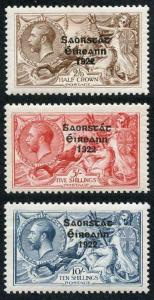 Ireland SG83/85 1925 KGV Set of Three Seahorse with Narrow Date M/M