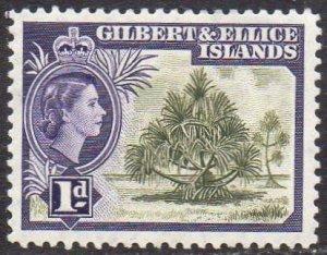 Gilbert & Ellice Islands 1956 1d Pandanus pine  MH