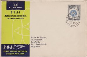 Aden 1/25 QEII Colony Badge 1957 Aden G.P.O. B.O.A.C. First Flight to London,...