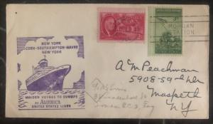 1946 New York USA Cover Maiden Voyage SS America Ship PAqueboat to Europe