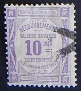 France, 1908-1910, Postal Order Stamps-Inscription RECOUVREMENTS