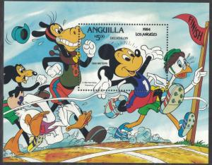 Anguilla SC568 Souv.Sht.MickeyMouseInDecathlon,LosAngeles,Olym.1984 MNH