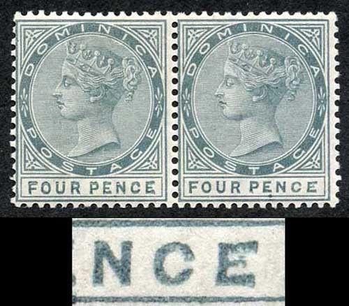 Dominica SG24a 4d Grey Variety Malformed CE in pair with normal SUPERB MINT