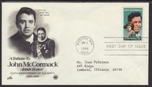 US John McCormack 1984 PCS Typed FDC BIN