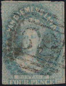 TASMANIA - 1860 SG34 4d slate green Imperf. (Wmk INVERTED) num. 59 LAUNCESTON