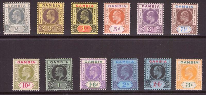 GAMIBIA George VII set 0f 1909 to 3/- hinged fresh colours.