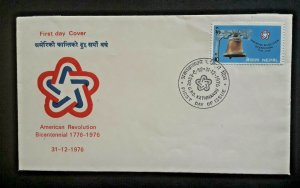 1976 Kathmandu Nepal American Revolution Bicentennial Illustrated 1st Day Cover