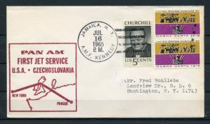 UNITED STATES PAN AM  FIRST JET SERVICE US  TO CZECHOSLAVKIA COVER 7/16/1965