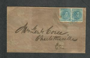 Charlottesville VA Cover Aug 7 1863 CSA Sc#7 Pair Overpaid Drop Letter