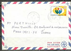 Upper Volta 1972, 40f Red Cross stamp used to France