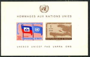 HAITI 1958 UNITED NATIONS Airmail Souvenir Sheet Sc C135a MNH